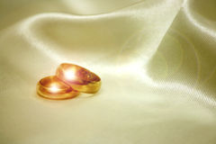 Wedding rings. Wedding ring with fabric background Stock Images