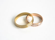 Wedding Rings. On a white background Stock Images