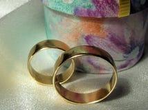 Wedding rings. Close-up Wedding rings on silk Stock Image