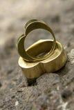 Wedding Rings 7. Heart shape golden wedding rings Stock Photo