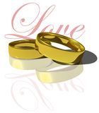 Wedding rings. An illustration depicting love and marriage stock illustration