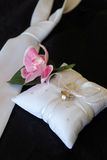 Wedding rings. Tie,flower and  pilllow Royalty Free Stock Image