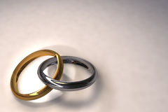 Wedding rings. 3d illustration of two wedding rings over white background royalty free illustration