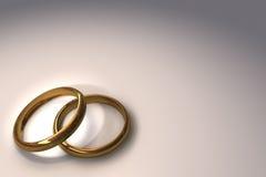 Wedding rings. 3d illustration of two wedding rings over white background stock illustration