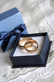 Wedding rings. Picture of golden rings in blue box Royalty Free Stock Images