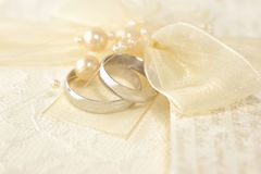 Wedding Rings. With a pearls royalty free stock photography