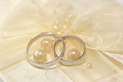 Wedding Rings. With a pearls stock images