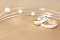 Wedding Rings. On the silk royalty free stock photos