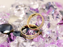 Wedding rings. Two wedding rings in some diamonds Stock Photography
