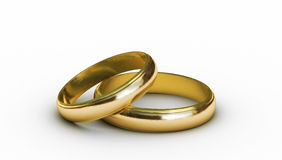 Wedding rings. Rendered two wedding rings isolated on white royalty free illustration
