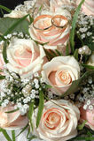 Wedding rings. In a bouquet of the bride Royalty Free Stock Images