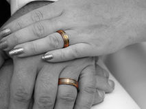 Wedding rings. Selectively colored picture of wedding rings on newly married couple Royalty Free Stock Photos