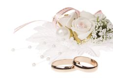 Wedding rings and accessories stock photo