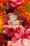 Wedding Rings Amongst the Bouquet. Wedding rings laying among the wedding bouquet Royalty Free Stock Photos