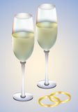 Wedding Rings And Champagne Royalty Free Stock Photos