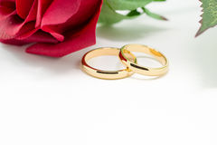 Wedding rings and artificial rose on white background Royalty Free Stock Photography