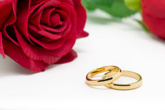 Wedding rings and artificial rose on white background Stock Photography
