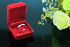 Wedding rings background, beautiful silver ring in red box for wedding concept Royalty Free Stock Photos