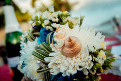 Wedding rings on a background of a bouquet Royalty Free Stock Photo