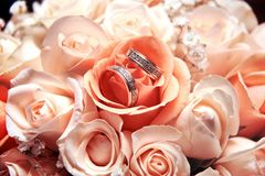 Wedding rings on a background stock photo