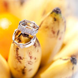 Wedding rings on bananas fruit, wedding in tropics Royalty Free Stock Photography