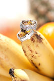 Wedding rings on bananas fruit, wedding in tropics Stock Photos