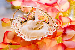 Wedding rings in a basket Royalty Free Stock Image