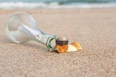 Wedding rings on the beach. With message Royalty Free Stock Images