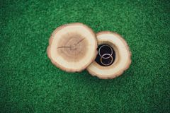 Wedding rings in a beautiful and stylish wooden box, on a green background. The concept of a wedding, the ceremony of betrothal. Gold rings newlyweds stock photo