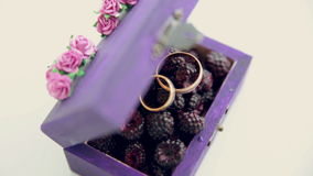 Wedding rings in a beauty vintage box. stock video footage