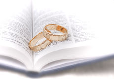 Wedding rings on bible. Gold wedding rings on a bible. Very shallow focus Royalty Free Stock Photos