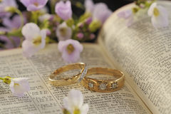 Wedding rings, Bible and flowers. A pair of wedding rings, placed on a holy bible, opened at Corinthians 32. This page is the description of marriage in the Stock Image