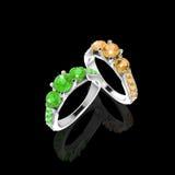 Wedding rings on Black Stock Image