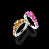 Wedding rings with gems on Black Stock Image
