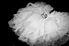 Wedding rings-black and white Stock Image