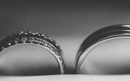 Wedding Rings Black and white. Macro royalty free stock photo