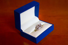 Wedding Rings in Blue Box Royalty Free Stock Photo