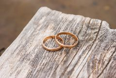 Wedding rings on board of pier Royalty Free Stock Photos