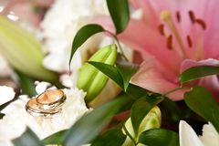Wedding rings on the bouquet. Wedding rings on the wedding bouquet Stock Photos