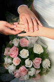 Wedding, rings and bouquet. Wedding bouquet of flowers and rings Royalty Free Stock Photos