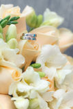 Wedding rings. With bouquet and accessories Royalty Free Stock Photo