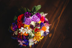 Wedding rings on the bouquet Royalty Free Stock Image