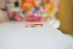 Wedding Rings and Bouquet Royalty Free Stock Photo