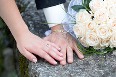 Wedding, rings and bouquet Royalty Free Stock Photos