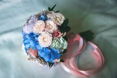 Wedding rings bouquet marriage white bride royalty free stock image