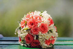 Wedding Rings on Bouquet Royalty Free Stock Images