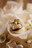 Wedding Rings on Bouquet - White Roses Stock Image
