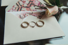 Wedding rings with boutonniere Royalty Free Stock Images
