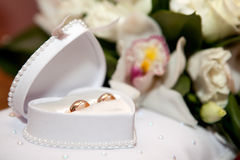 Wedding rings in a box Royalty Free Stock Photos