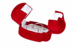 Wedding rings in a box. Wedding silver gold rings in a red box Royalty Free Stock Photo